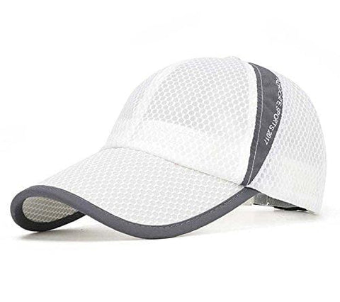 FADA Men's Mesh Brim Tennis Cap Outside Sunscreen Quick Dry Adjustable Baseball Hat White [product _type] FADA - Ultra Pickleball - The Pickleball Paddle MegaStore