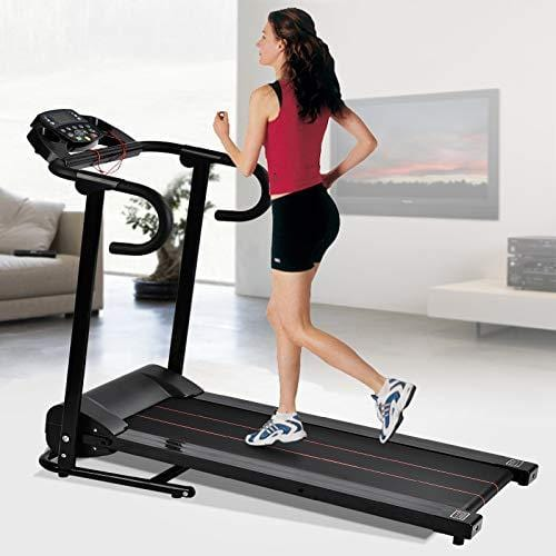Folding Treadmill Electric Walking Running Exercise Fitness Machine Black with LCD Display Easy Control for Home