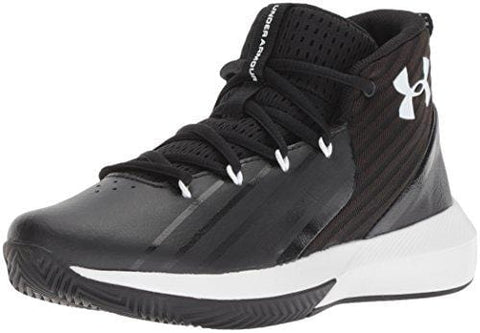 Under Armour Boys' Grade School Launch Basketball Shoe, Black (002)/White, 5.5