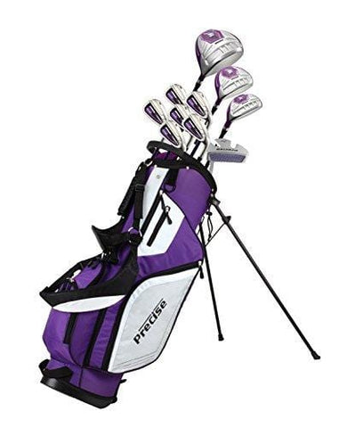 "Precise M5 Ladies Womens Complete Right Handed Golf Clubs Set Includes Titanium Driver, S.S. Fairway, S.S. Hybrid, S.S. 5-PW Irons, Putter, Stand Bag, 3 H/C's Purple (Right Hand Tall Size +1"")"