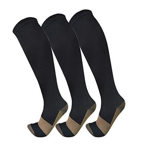 Copper Compression Socks For Men & Women(3 Pairs)- Best For Running,Athletic,Medical,Pregnancy and Travel -15-20mmHg (S/M, Black) [product _type] FuelMeFoot - Ultra Pickleball - The Pickleball Paddle MegaStore