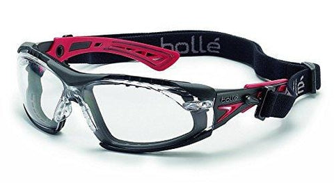 Bolle Safety RUSH+ assembled w/Strap&Foam 40252 PC Clear ASAF Platinum Blk&Rd