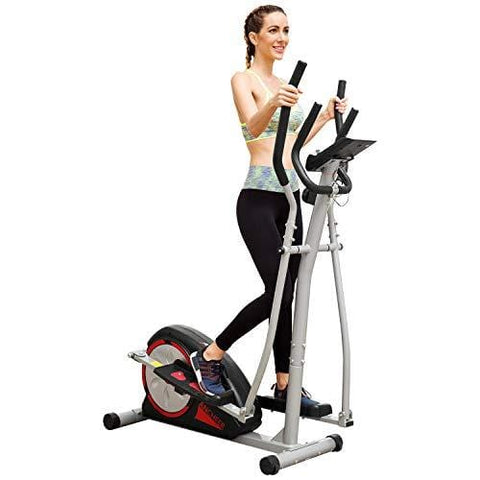 ANCHEER Elliptical Machine Trainer Magnetic Smooth Quiet Driven with LCD Monitor and Pulse Rate Grips (Black - Classic)