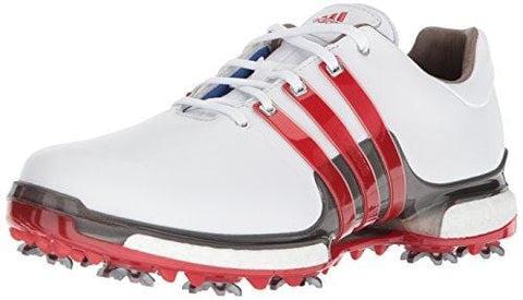 adidas Men's TOUR 360 2.0 Golf Shoe, White/Scarlet/Dark Silver Metallic, 11 M US