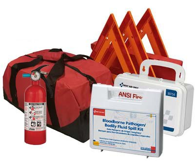 Safety and Trauma Supplies All-in-One DOT OSHA Compliant Kit with 1.5 lb Fire Extinguisher