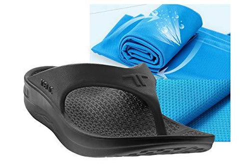 Telic Unisex Arch Support Flip Flops & Bob Sports Towel Shoe | $55 Value Midnight Black