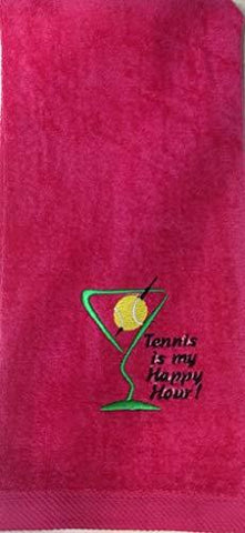 Tennis Is My Happy Hour - Towel (Hot Pink)