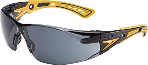 Bolle Safety Rush+ Safety Glasses, Yellow & Black Frame, Smoke Lenses