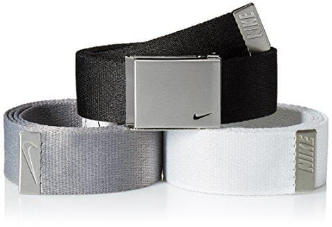 Nike Men's 3 Pack Golf Web Belt, Black/White/Grey, One Size