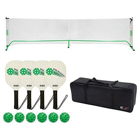GSE Games & Sports Expert Professional Portable Pickleball Complete Set. Including Pickleball Net System, 4 Pickleball Paddles, 6 Outdoor Pickleballs (Orange) (Green)