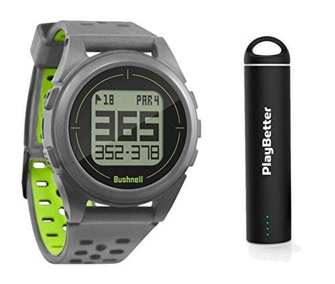 Bushnell iON 2 Golf GPS Watch Bundle | with PlayBetter Portable USB Charger | Simple, Intuitive Golf GPS Watch | 36,000+ Worldwide Courses | 2018 Version (Silver/Yellow)