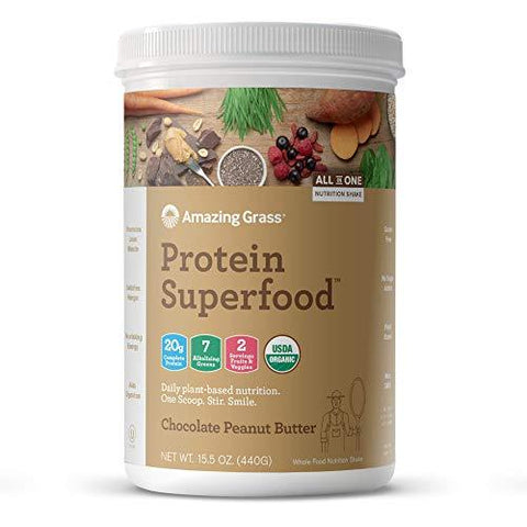 Amazing Grass Organic Plant Based Vegan Protein Superfood Powder with Vitamin Matrix, Flavor: Chocolate Peanut Butter, 10 Servings, 15.1oz, Meal Replacement Shake