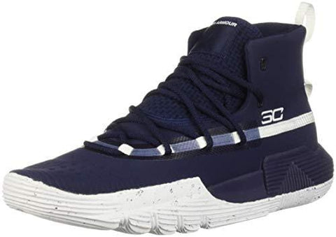 Under Armour Boys' Grade School SC 3Zer0 II Basketball Shoe, Midnight Navy (401)/White, 4