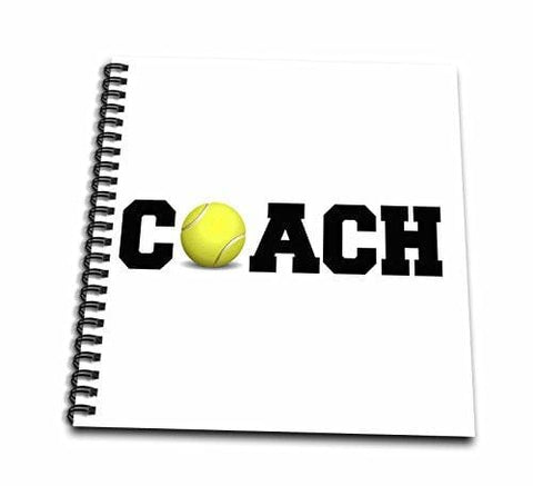 3dRose db_192409_2 Coach, Black Letters with Tennis Ball on White Background Memory Book, 12 by 12""
