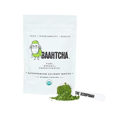 Baahtcha - USDA Organic Matcha Green Tea Powder - Premium Culinary Grade Natural Caffeine Energy Booster, Antioxidant, Weight Loss, Fat Burner - Gluten Free, Vegan - Starter Size - 30g