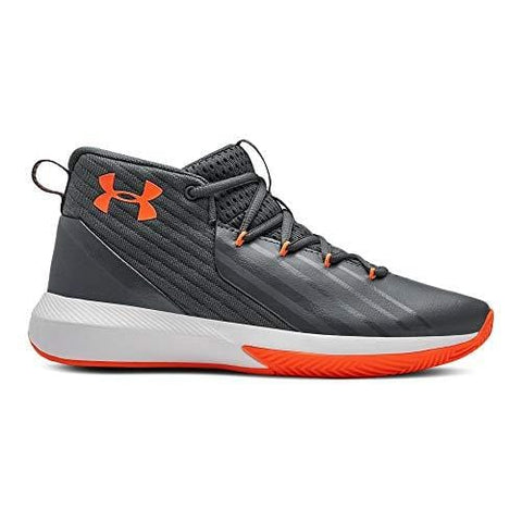 Under Armour Boys' Grade School Launch Basketball Shoe, Pitch Gray (102)/White, 5.5
