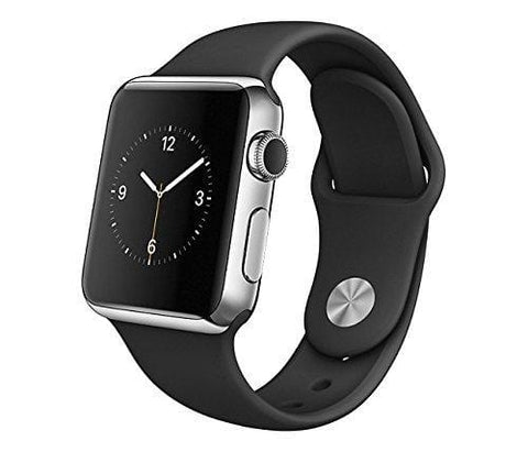 Apple Watch 42mm Stainless Steel Case w/ Black Sports Band (Renewed)