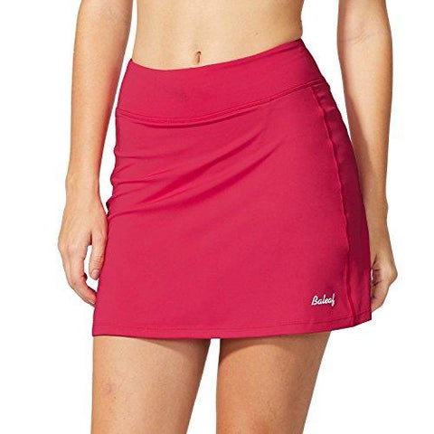 Baleaf Women's Active Athletic Skort Lightweight Skirt with Pockets for Running Tennis Golf Workout Deep Pink Size XS