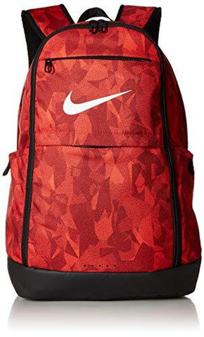 Nike Brasilia XL Backpack - All Over Print 2, Habanero Red/Team Red/White, Misc