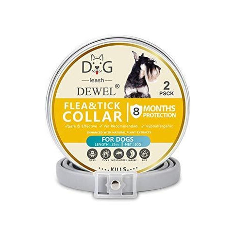 Adjustable Flea and Tick Collar for Dog, Pet Anti-Mosquito Collar 2 Pack Anti-Flea Anti-Mosquito Natural Insect Essential Oil Anti-Mite Pet Collar