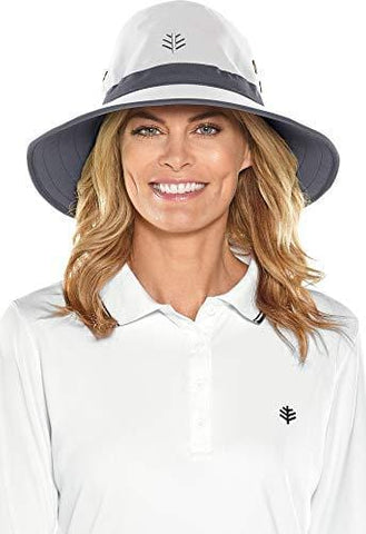 Coolibar UPF 50+ Men's Women's Matchplay Golf Hat - Sun Protective (XX-Large- White/Carbon)