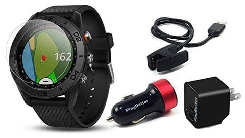 Garmin Approach S60 (Black) Golf GPS Watch Power Bundle | Includes PlayBetter HD Screen Protectors & USB Charging Adapters | Auto-Shot Tracking, 40,000+ Pre-Loaded Courses | 010-01702-00