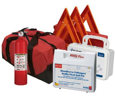 Safety and Trauma Supplies All-in-One Kit DOT OSHA Compliant with 2.5 lb Fire Extinguisher