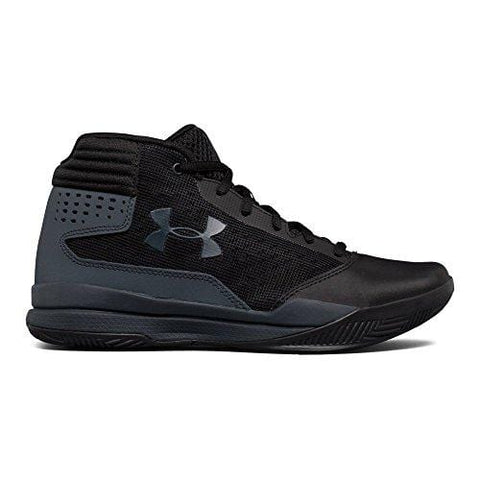 Under Armour Boys' Grade School Jet 2017 Basketball Shoe, Black (001)/Rhino Gray, 4