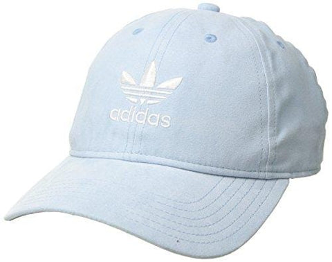 adidas Women's Originals Relaxed Plus Adjustable Strapback Cap, Aero Blue Suede/White, One Size