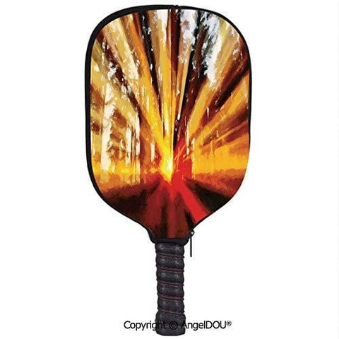 AngelDOU Country Decor Lightweight Neoprene Durable Pickleball Paddle Cover Photo of Magical Sunbeams Lighting Through Trees at Sunset in The Forest Nature Print Holder Sleeve Case Protector.Yellow O
