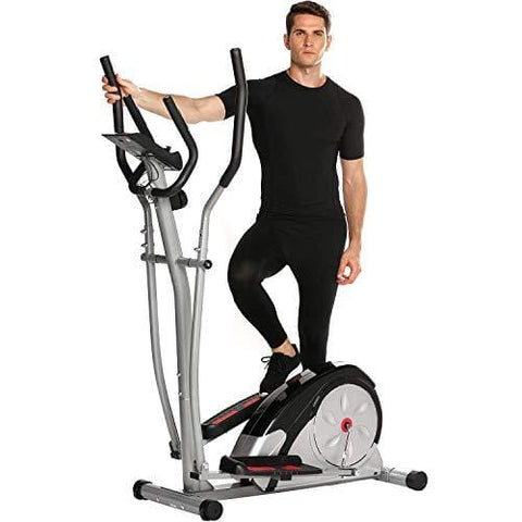 Fast 88 Portable Elliptical Machine Fitness Workout Cardio Training Machine, Magnetic Control Mute Elliptical Trainer with LCD Monitor,Top Levels Elliptical Machine Trainer (Grey)
