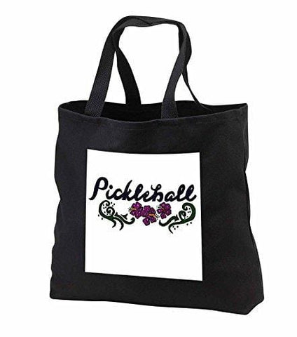 All Smiles Art Sports and Hobbies - Artistic Pickleball Art and Flowers Original - Tote Bags - Black Tote Bag JUMBO 20w x 15h x 5d (tb_240038_3)