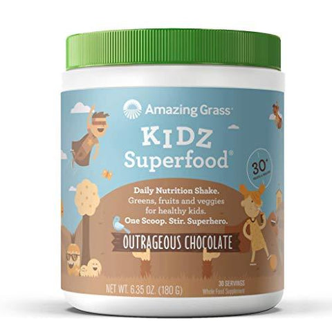 Amazing Grass, Organic Vegan Kids Superfood Powder with 30+ fruits & Super Greens, Flavor: Outrageous Chocolate, 30 Servings