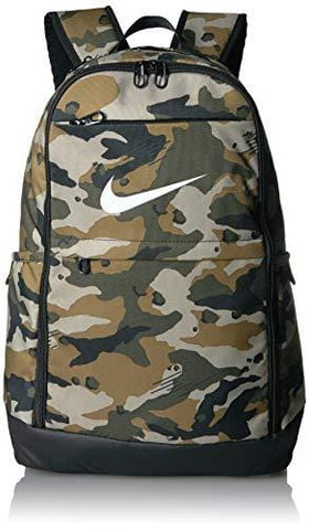 NIKE Brasilia X-Large Backpack - All Over Print, Neutral Olive/Black/White, X-Large
