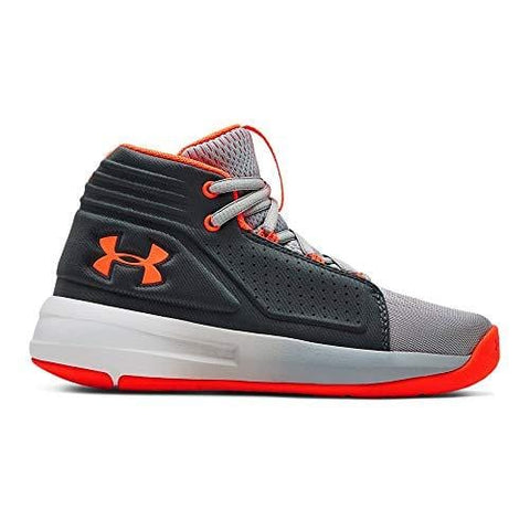 Under Armour Boys' Pre School Torch Mid Basketball Shoe, Mod Gray (101)/Pitch Gray, 3 M US Little Kid