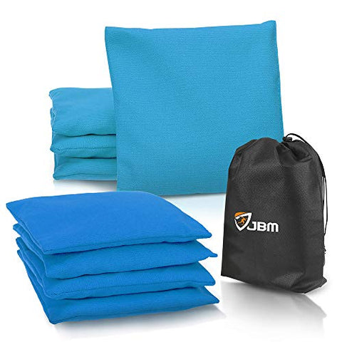 JBM Cornhole Bag (Pack of 8) Weather Resistant Cornhole Bags with Recycled Plastic Pellets for Tossing Corn Hole Game - Free Carrying Bag Included (Blue & Navy, 14OZ)