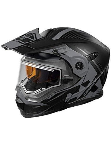 Castle X CX950 Focus Electric Modular Snowmobile Helmet (2XL, Matte Black/Gray)