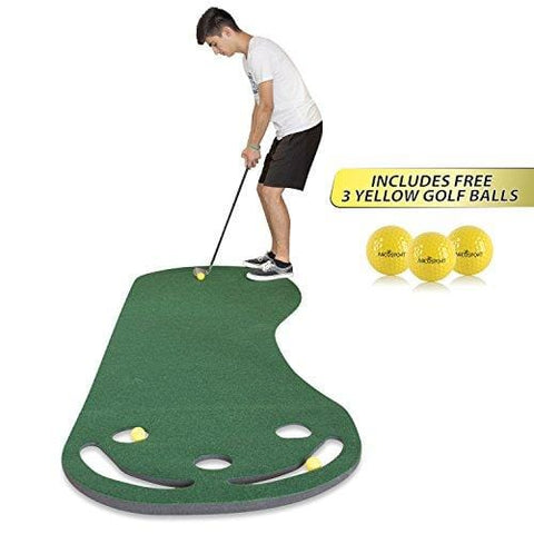 Golf Putting Green Grassroots Mat - 9ft by 3ft – Includes Free 3 Yellow Golf Balls - Ideal for Outdoor & Indoor – for Practicing, Training – Thicker and Wider Surface – For All Ages! [product _type] Abco Tech - Ultra Pickleball - The Pickleball Paddle MegaStore