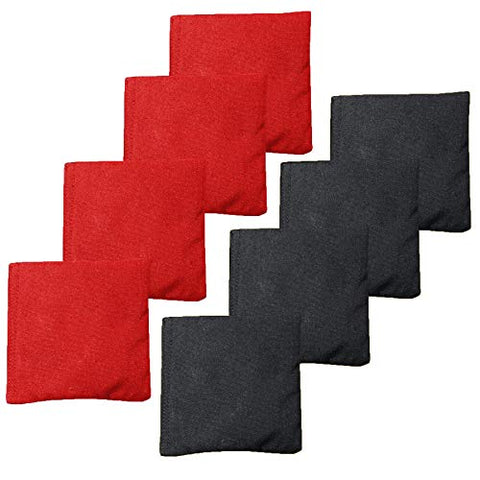 Play Platoon Premium Weather Resistant Duck Cloth Cornhole Bags - Set of 8 Bean Bags for Corn Hole Game - 4 Red & 4 Black.