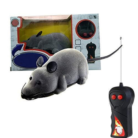Alovexiong Gray Rat Toy for Cat Funny Mini RC Wireless Electronic Remote Control Rat Mouse Toy Cat Playing Chew Toys for Cats Pets Mouse Gift(Batteries Not Included)
