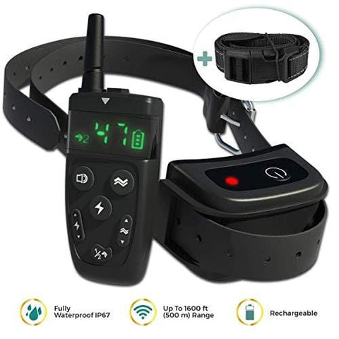 All-New 2019 Dog Training Collar with Remote | Long Range 1600', Shock, Vibration Control, Rechargeable & Ipx7 Waterproof | E-Collar Shock Collar for Dogs Small, Medium, Large Size, All Breeds