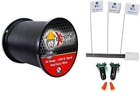 20 Gauge Wire 1000 Kit - Pet Containment Wire Setup Kit Compatible with Every in-Ground Fence System for Dogs - Includes 4 Splices and 100 Training Flags Bundle