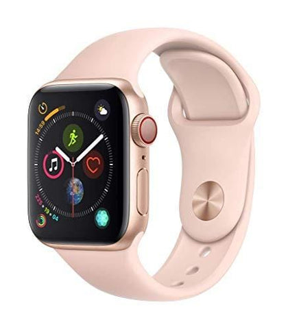 Apple Watch Series 4 (GPS + Cellular, 44mm) - Gold Aluminium Case with Pink Sand Sport Band (Renewed)
