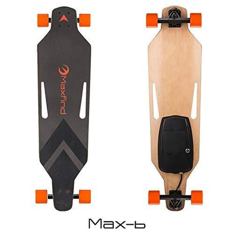 Maxfind Maxa Electric Skateboards 18.6 mph Hub Brush Motor 8 Miles Range 176 Lbs 7 Layers Maple Longboard with Wireless Remote Control