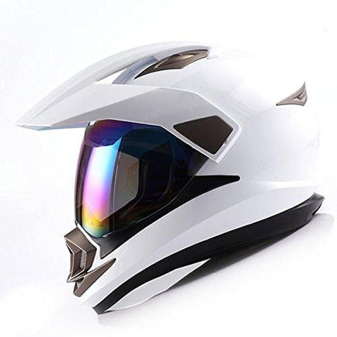 Dual Sport Helmet Motorcycle Full Face Motocross Off Road Bike Glossy White,Size Small