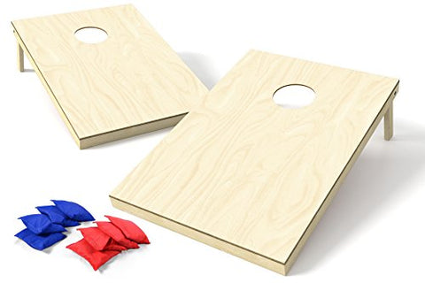 Backyard Champs Corn Hole Outdoor Game: 2 Regulation Wood Cornhole Boards and 8 Bean Bags, 2 x 3 Foot, Natural