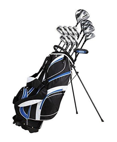 "18 Piece Men's Complete Golf Club Package Set With Titanium Driver, #3 & #5 Fairway Woods, #4 Hybrid, 5-SW Irons, Putter, Stand Bag, 4 H/C's (Blue, Tall Size +1"") [product _type] PreciseGolf Co. - Ultra Pickleball - The Pickleball Paddle MegaStore"