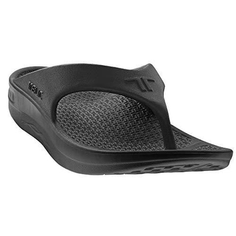 Telic Energy Flip Flop - Comfort Sandals for Men and Women, Midnight Black, S (Women's 8)