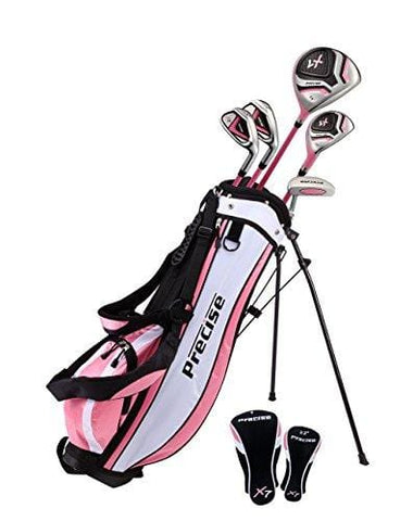 "Distinctive Girls Right Handed Pink Junior Golf Club Set for Age 6 to 8 (Height 3'8"" to 4'4"") Set Includes: Driver (15""), Hybrid Wood (22, 2 Irons, Putter, Bonus Stand Bag & 2 Headcovers [product _type] Precise - Ultra Pickleball - The Pickleball Paddle MegaStore"