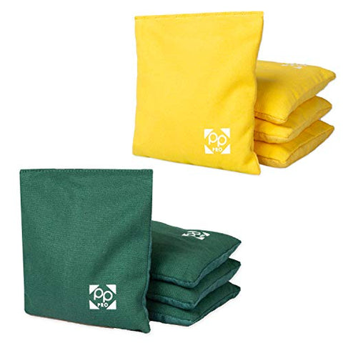 Professional Cornhole Bags - Set of 8 Regulation All Weather Two Sided Bean Bags for Pro Corn Hole Game - 4 Hunter Green & 4 Yellow